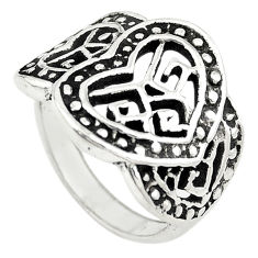 Indonesian bali style solid 925 sterling silver heart shape ring size 6 c22259