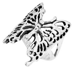 6.87gms indonesian bali style solid 925 silver butterfly ring size 8 c17062