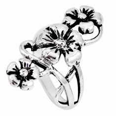 5.26gms indonesian bali style solid 925 silver flower ring size 7.5 c17085