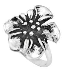 4.89gms indonesian bali style solid 925 silver flower ring size 7.5 c17055