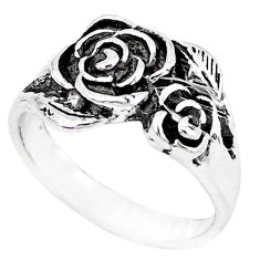 Indonesian bali style solid 925 silver flower ring jewelry size 8.5 c17057