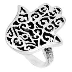 Indonesian bali style solid 925 silver hand of god hamsa ring size 7.5 c17088