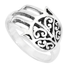 Indonesian bali style solid 925 silver hand of god hamsa ring size 7.5 c17094