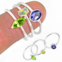 4.74cts iolite ethiopian opal peridot silver stackable ring size 7.5 r59957