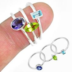4.92cts iolite peridot blue topaz 925 silver 3 stackable ring size 6.5 r59916