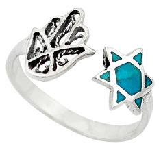 Jewish religious star david 925 silver turquoise adjustable ring size 9 c10714