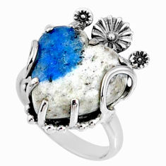 11.54cts k2 blue (azurite in quartz) 925 silver heart ring size 6 r67516