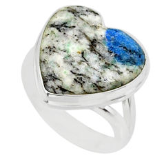 8.77cts k2 blue (azurite in quartz) 925 silver solitaire ring size 6 r84702