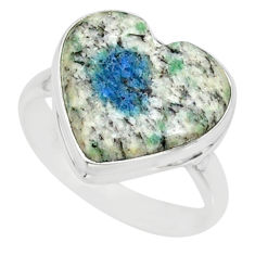 9.04cts k2 blue (azurite in quartz) 925 silver solitaire ring size 9 r84735