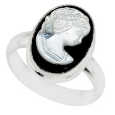 4.64cts lady face natural opal cameo on black onyx 925 silver ring size 7 r80455
