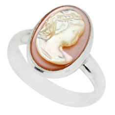 4.84cts lady face natural pink cameo on shell 925 silver ring size 6.5 r80441
