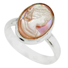 5.11cts lady face natural pink cameo on shell 925 silver ring size 9 r80445