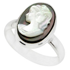 4.84cts lady face natural titanium cameo on shell silver ring size 6.5 r80462