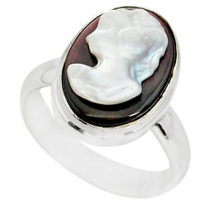 5.11cts lady face natural titanium cameo on shell silver ring size 8.5 r80463
