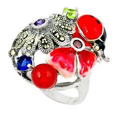 Ladybug natural honey onyx amethyst enamel 925 silver ring size 6.5 c18600