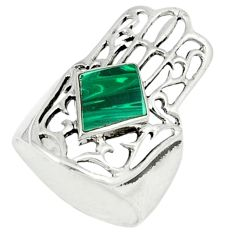 Malachite (pilot's stone) 925 silver hand of god hamsa ring size 5.5 c11970
