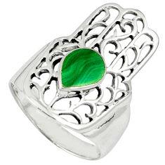 Malachite (pilot's stone) 925 silver hand of god hamsa ring size 7.5 c11973