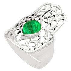 Malachite (pilot's stone) 925 silver hand of god hamsa ring size 7.5 c12737