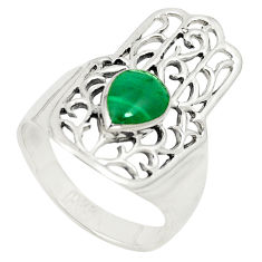 Malachite (pilot's stone) 925 silver hand of god hamsa ring size 8.5 c12740