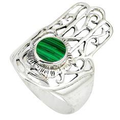 Malachite (pilot's stone) 925 silver hand of god hamsa ring size 7.5 c12760