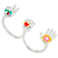 Marcasite multi color enamel 925 silver two finger couple ring size 7.5 c18395