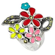 8.69gms marcasite enamel 925 sterling silver flower ring jewelry size 7.5 c18582