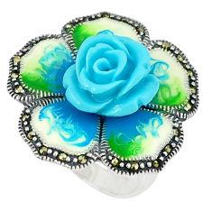 Marcasite enamel 925 sterling silver flower ring jewelry size 5.5 c18543