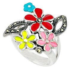 Marcasite enamel 925 sterling silver flower ring jewelry size 8.5 c18599