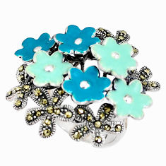 12.48gms marcasite enamel 925 sterling silver flower ring jewelry size 6 c21401