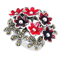12.89gms marcasite enamel 925 sterling silver flower ring jewelry size 7 c21403