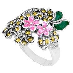 6.89gms marcasite enamel 925 sterling silver flower ring jewelry size 9 c20795