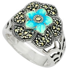 6.63gms marcasite enamel 925 sterling silver ring jewelry size 7.5 c18467