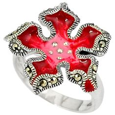 5.62gms marcasite enamel 925 sterling silver ring jewelry size 7.5 c18447