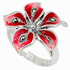 5.37gms marcasite enamel 925 sterling silver ring jewelry size 6.5 c18374