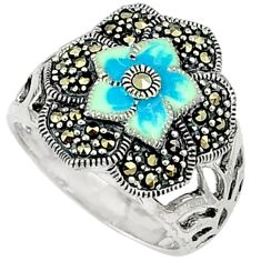 7.01gms marcasite enamel 925 sterling silver ring jewelry size 7.5 c18461