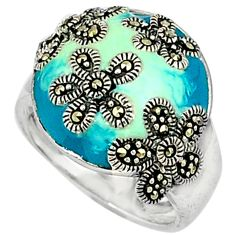 6.86gms marcasite enamel 925 sterling silver ring jewelry size 6.5 c18304