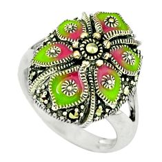 6.68gms marcasite enamel 925 sterling silver ring jewelry size 7.5 c18713