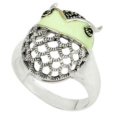5.26gms marcasite enamel 925 sterling silver ring jewelry size 6.5 c18692