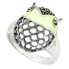 5.02gms marcasite enamel 925 sterling silver ring jewelry size 7.5 c18689