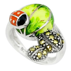 6.26gms marcasite enamel 925 sterling silver ring jewelry size 5.5 c18717