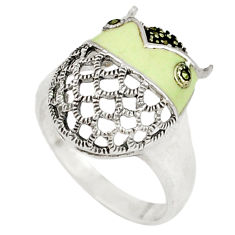 4.69gms marcasite enamel 925 sterling silver ring jewelry size 7.5 c18685