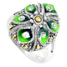7.26gms marcasite enamel 925 sterling silver ring jewelry size 7.5 c16181