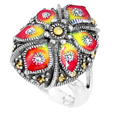 6.47gms marcasite enamel 925 sterling silver ring jewelry size 5.5 c16183