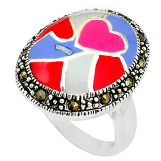 6.26gms marcasite enamel 925 sterling silver ring jewelry size 6 c22878