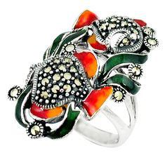 9.65gms marcasite enamel 925 sterling silver ring jewelry size 8 c18602