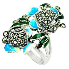9.47gms marcasite enamel 925 sterling silver ring jewelry size 8 c18614