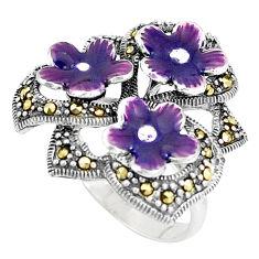 10.25gms fine marcasite enamel 925 sterling silver flower ring size 6.5 c15966