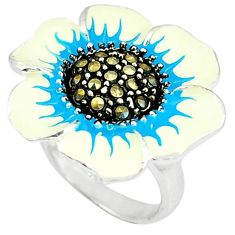 Marcasite multi color enamel 925 sterling silver flower ring size 6.5 c18291