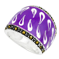 Marcasite multi color enamel 925 sterling silver ring jewelry size 5.5 c18518