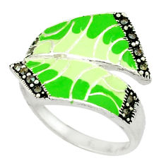 Marcasite multi color enamel 925 sterling silver ring jewelry size 7.5 c18412